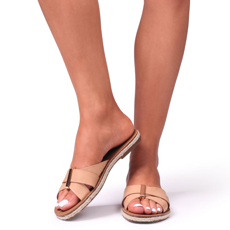 ADINA - Nude Nappa Slip On Sandal With Gold Trim