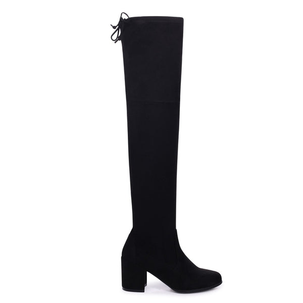 AMBER - Black Suede Block Heeled Over The Knee Boot with Tie Up Back