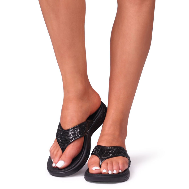 DAZZLE - Black Platform Jelly Flip Flop With Diamante Embellished Strap