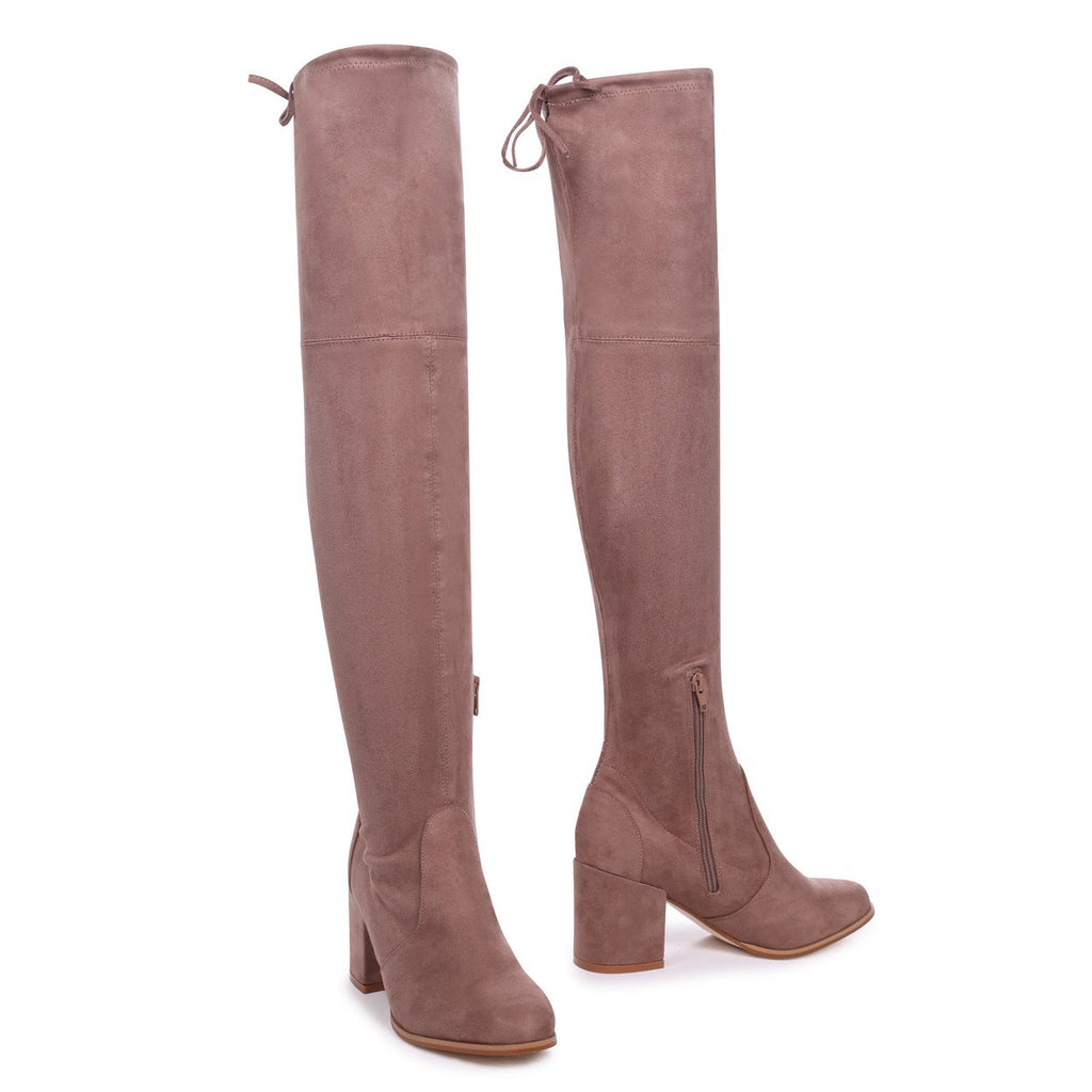 AMBER - Mocha Suede Block Heeled Over The Knee Boot with Tie Up Back
