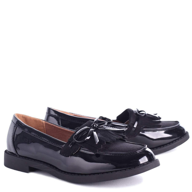CARLEEN - Black Patent Suede Classic Patent Loafer with Bow Detailing & Fringing