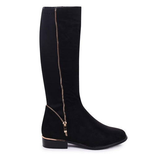 NATASHA - Black Suede Long Boot with Gold Zip & Heel Detailing and Lycra Back Panel