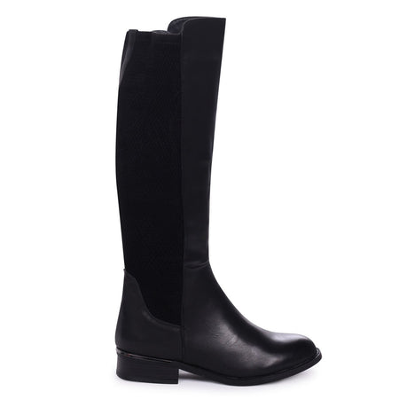 KAY - Black Croc Patent Pull On Chelsea Boot With Stacked Block Heel