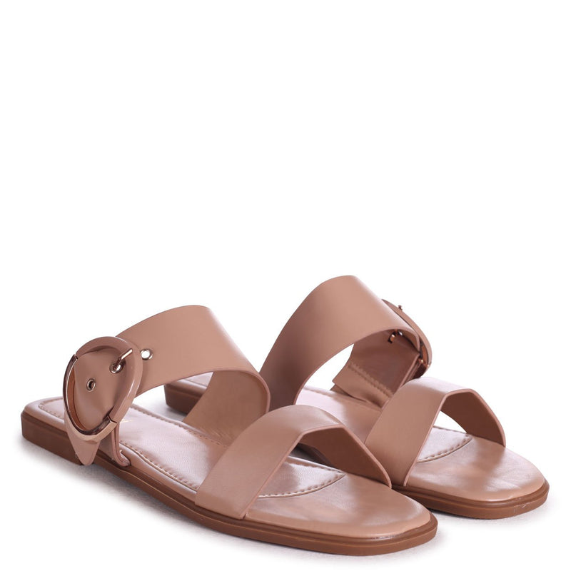 EDEN - Nude Nappa Slider With Double Front Strap & Large Buckle Detail