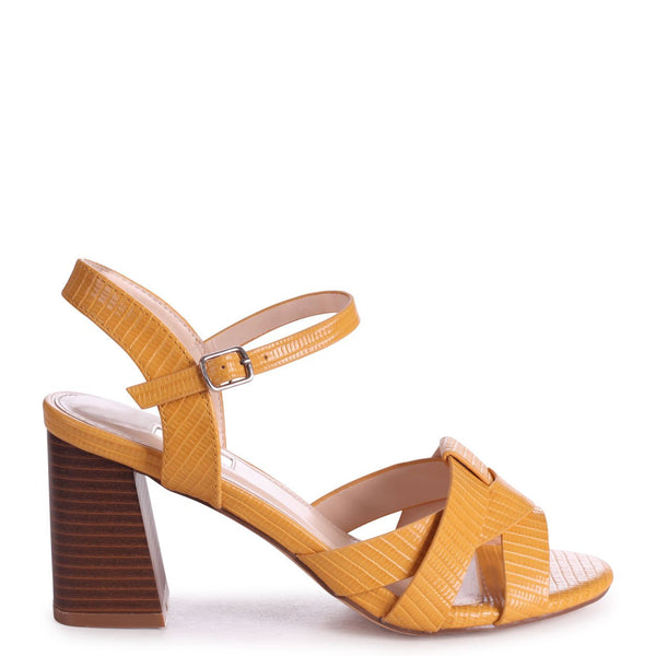 GREYSON - Yellow Lizard Stacked Heeled Sandal With Woven Front Strap