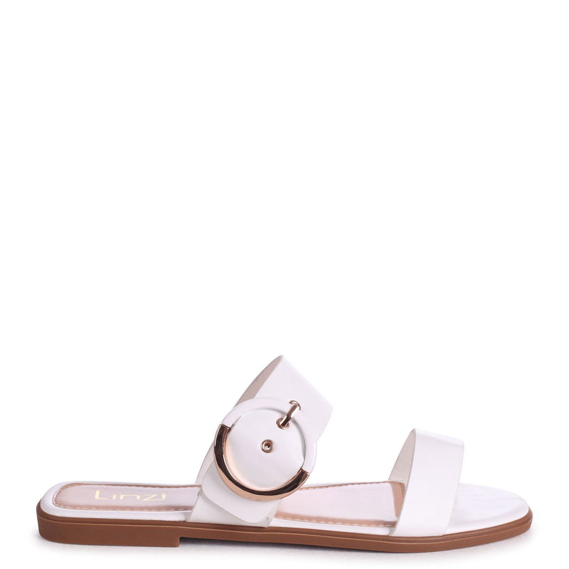 EDEN - White Nappa Slider With Double Front Strap & Large Buckle Detail