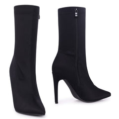 ELENA - Black Pointed Lycra Sock Boot With Stiletto Heel