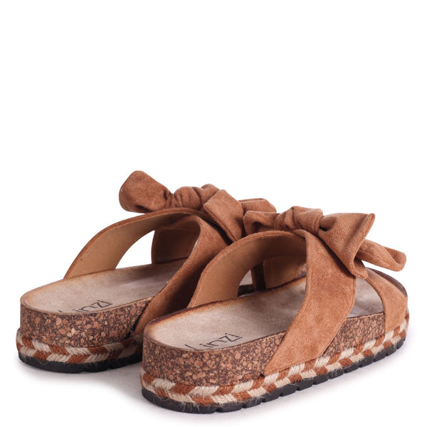 BALI - Tan Suede Slip On Slider With Double Bow Detail