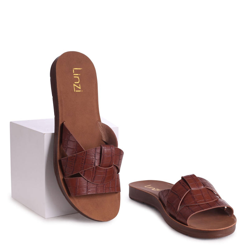 ANNA - Brown Croc Slider With Woven Front Straps