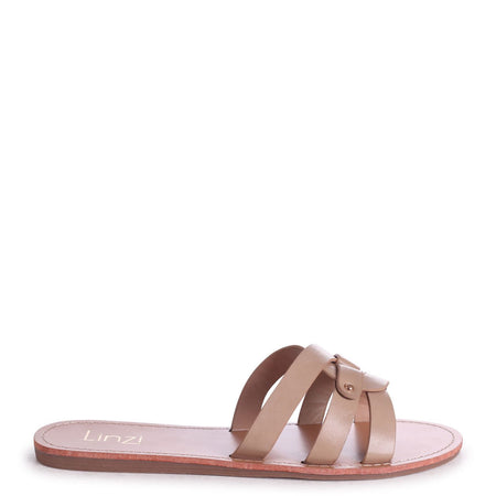 GLORIA - White Nappa Slip On Slider With Link Shaped Front Strap
