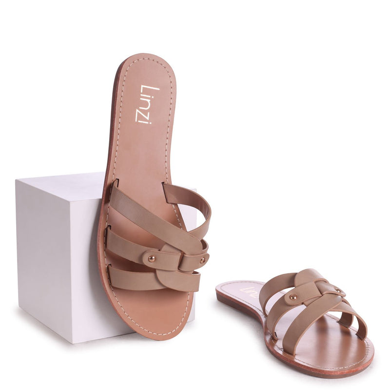 OPRAH - Taupe Nappa Flat Slip On Slider With Link Shaped Front Strap