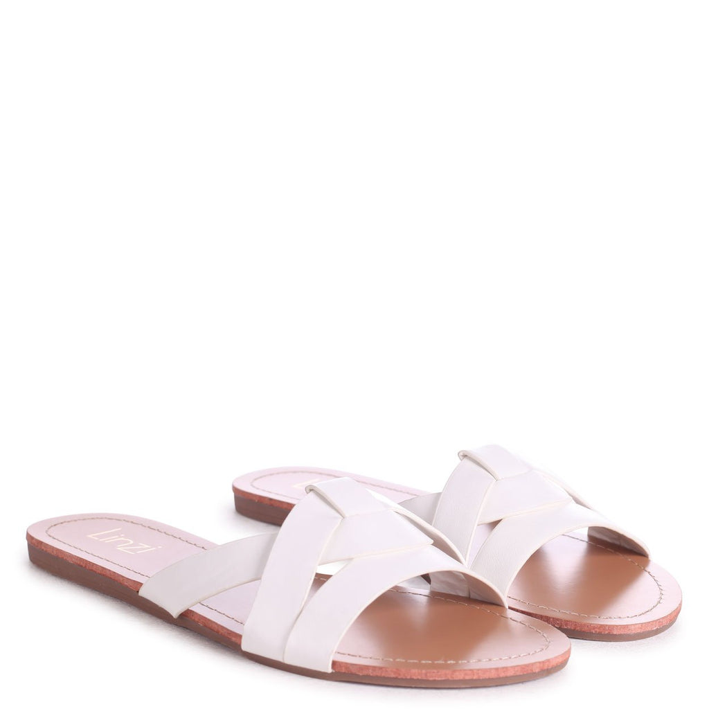 MARRI - White Nappa Flat Slip On Slider With Woven Front Strap