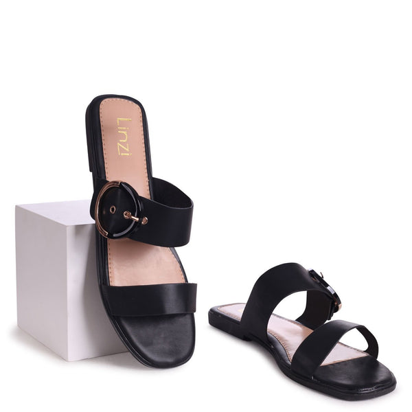 EDEN - Black Nappa Slider With Double Front Strap & Large Buckle Detail
