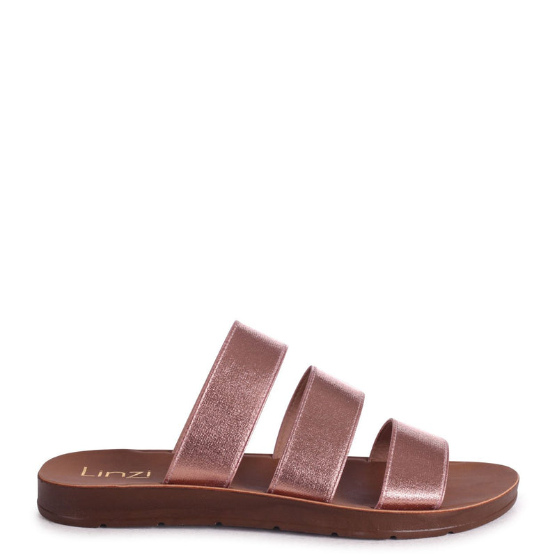 LOU - Rose Gold Slip On Sandal With Triple Front Straps