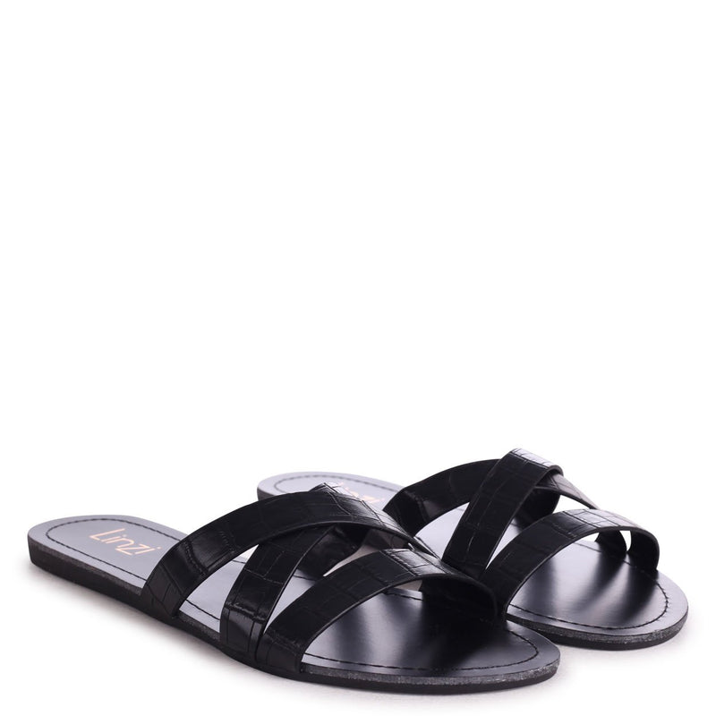 GALIA - Black Croc Flat Slip On Slider With Link Shaped Front Strap
