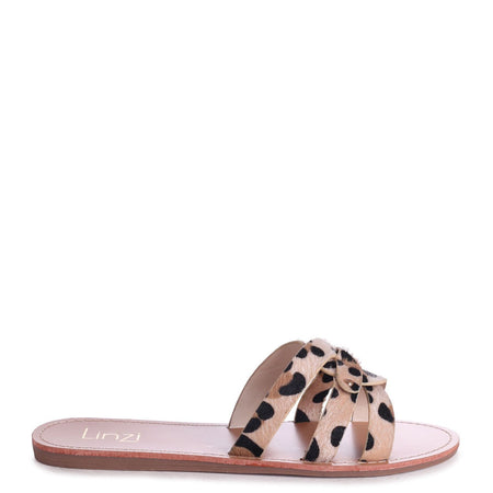 OPRAH - Tan Nappa Flat Slip On Slider With Link Shaped Front Strap