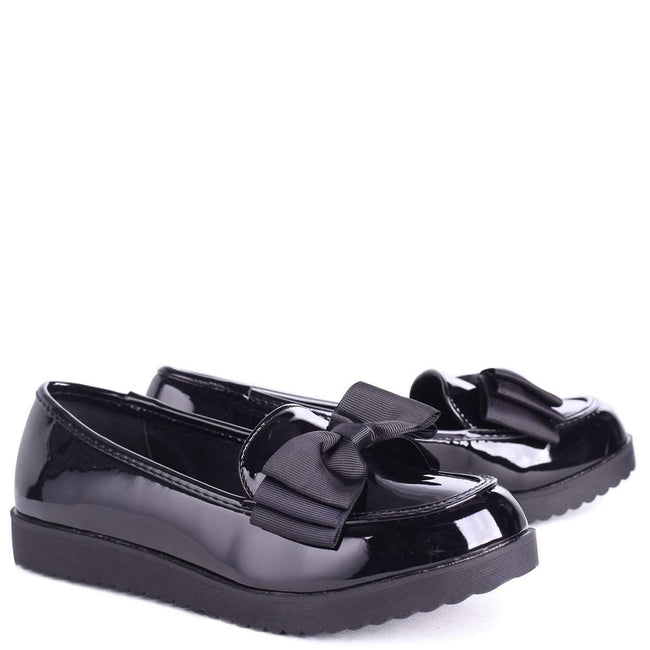 CARRI - Black Patent Chunky Slip On Shoe with Fabric Bow