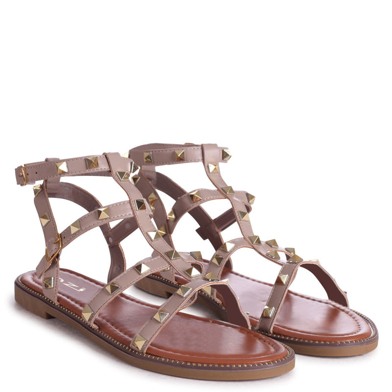 BILLIE - Taupe Studded Gladiator Sandal With Embellished Sole