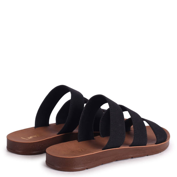 LOU - Black Slip On Sandal With Triple Front Straps