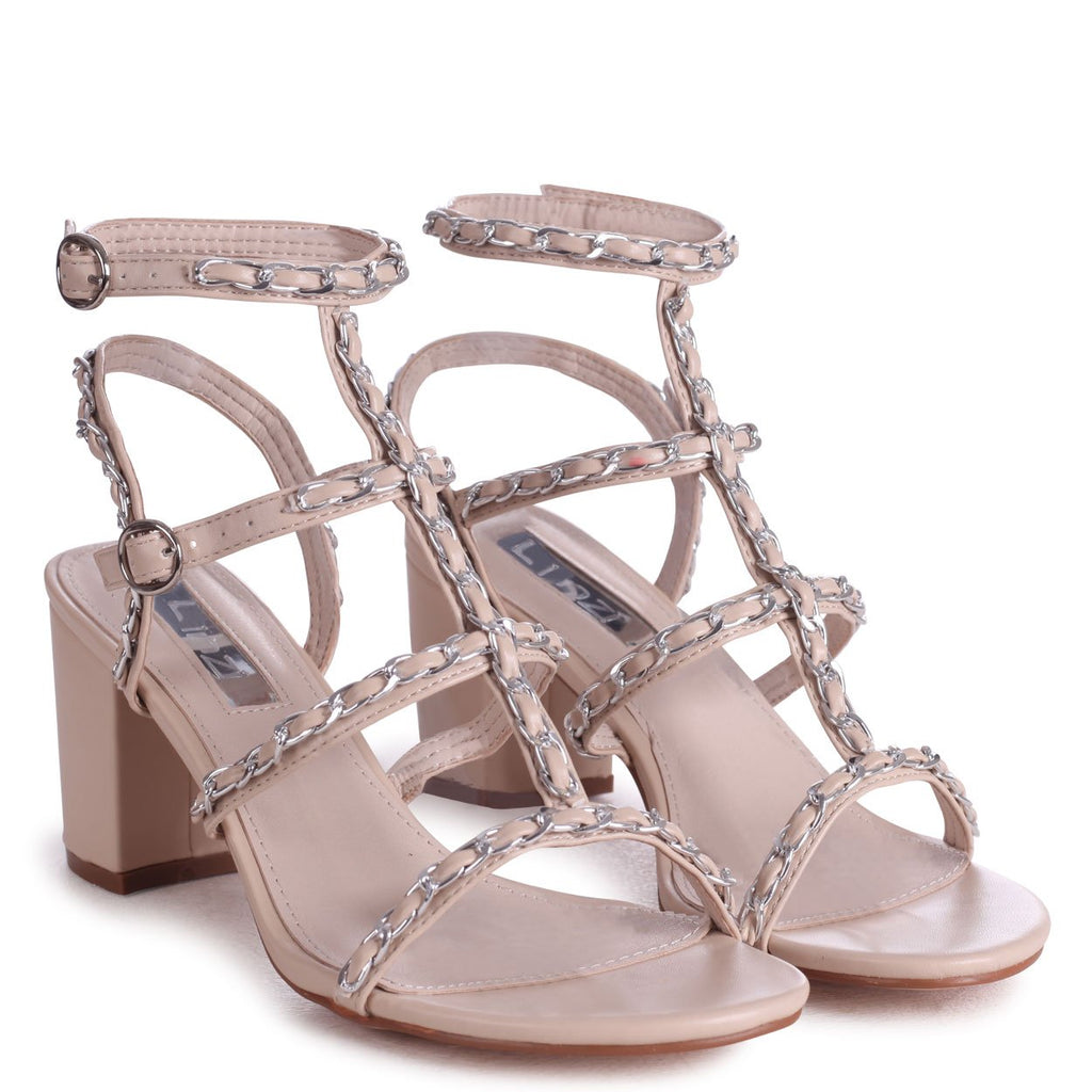 MADDOX - Beige Block Heeled Sandal With All Over Silver Chain Detail