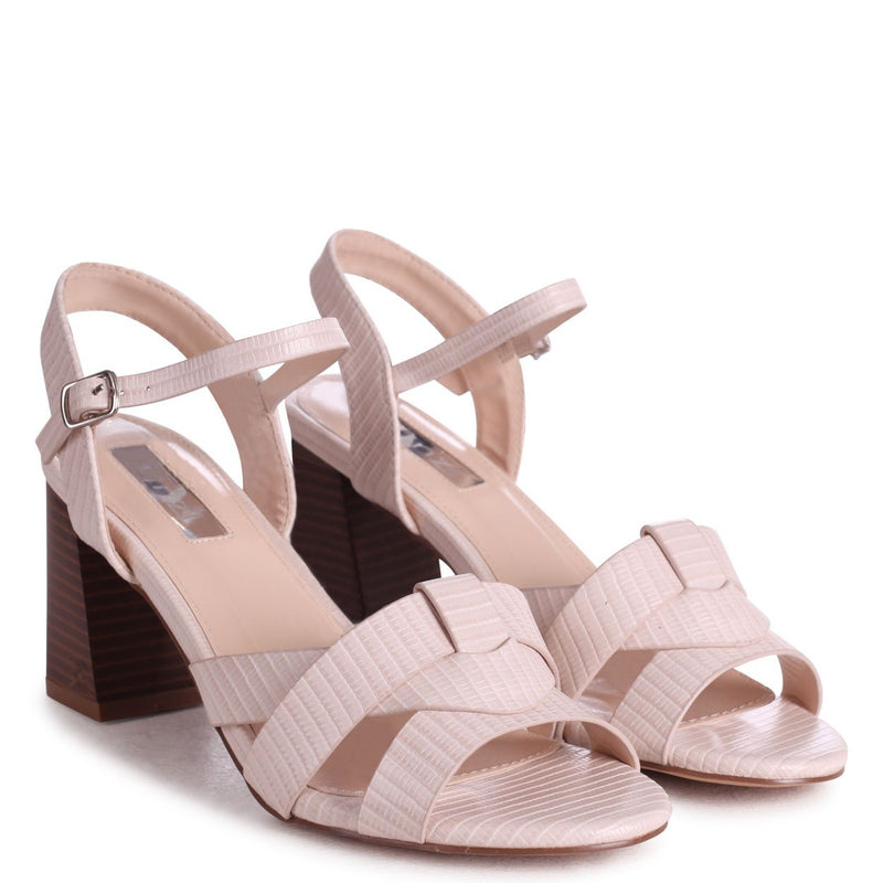 GREYSON - Ivory Lizard Stacked Heeled Sandal With Woven Front Strap