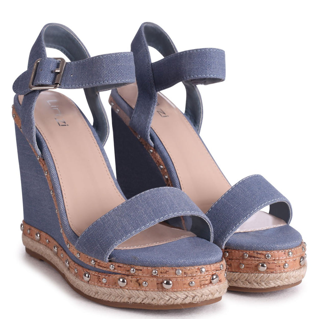 MOON - Denim Canvas Wedge With Studded & Rope Trim