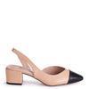 HUGH - Nude Sling Back Block Heeled Pump With Black Toe Cap