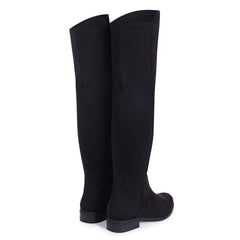 STACIA - Black Suede Long Boot with Back Lycra Panel