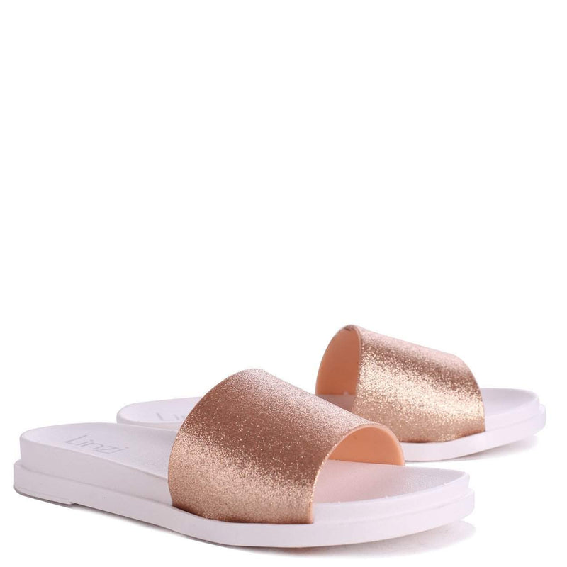 JADEN - Rose Slip On Shimmer Sliders