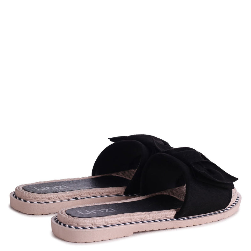 REGAL - Black Suede Slip On Slider With Large Bow Front Strap & Plaited Trim