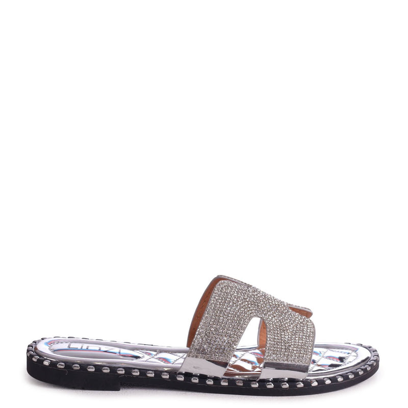 GAL - Silver All Over Diamante Slip On Slider With Studded Trim