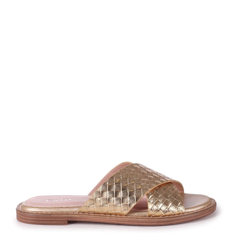 HARLEM - Gold Slip On Slider With Woven Crossover Front Strap