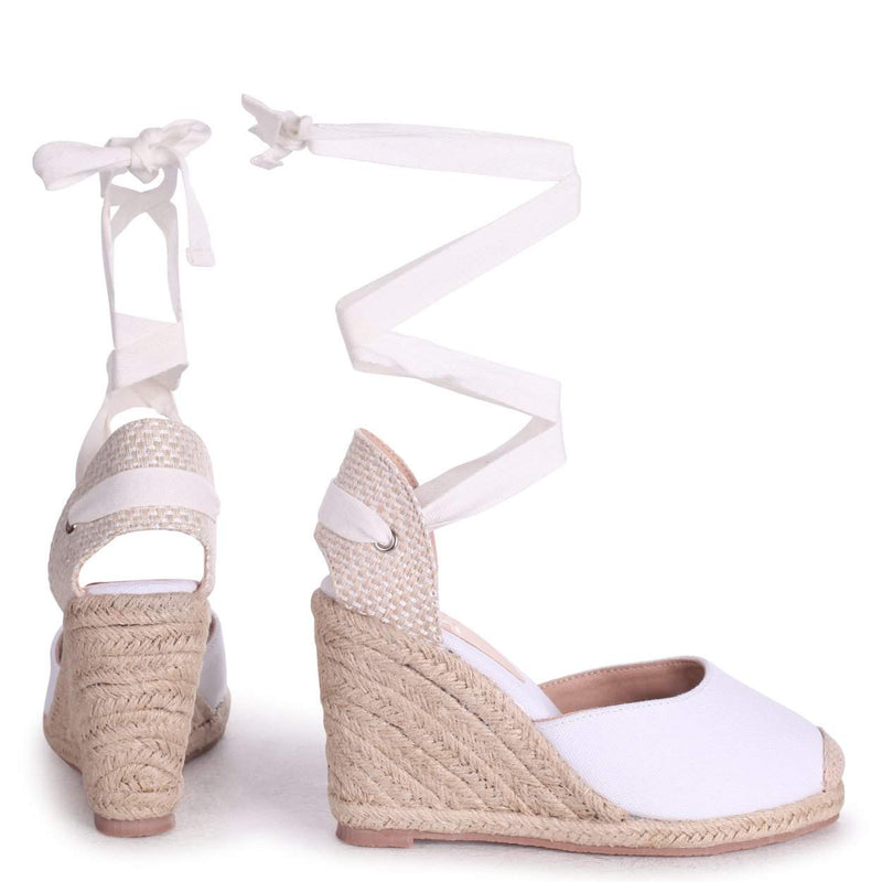 MEGHAN - White Canvas Closed Toe Espadrille Wedge With Tie Up Straps