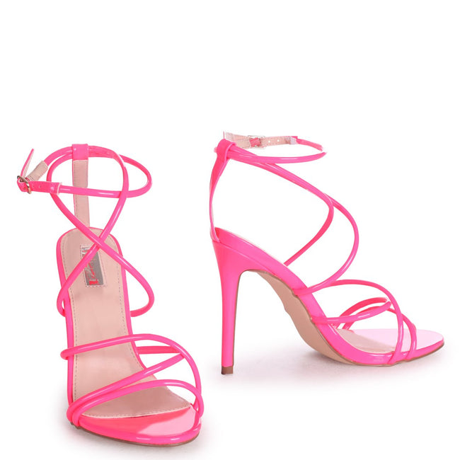 DIVINE - Neon Pink Strappy Stiletto Heel With Ankle Strap