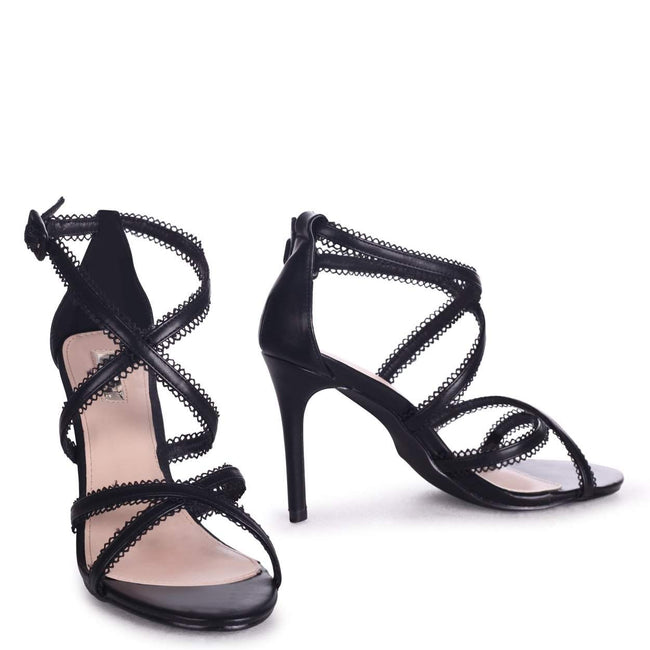 CHARLIE - Black Nappa Stiletto Heel With Double Front Lace Straps