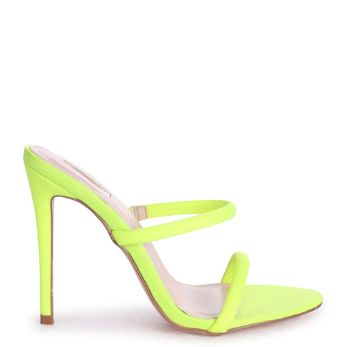 PENNY - Neon Yellow Stiletto Heeled Mule With Double Front Strap