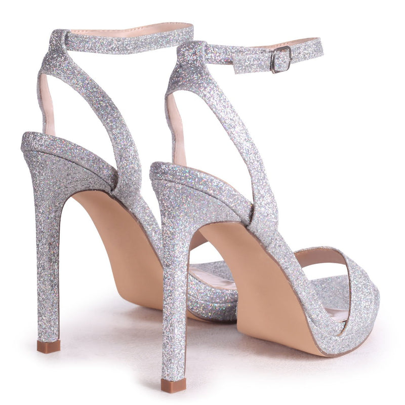 HIGHER LOVE - Silver Glitter Open Back Barely There Stiletto Sandal