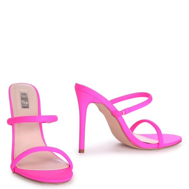PENNY - Neon Pink Stiletto Heeled Mule With Double Front Strap