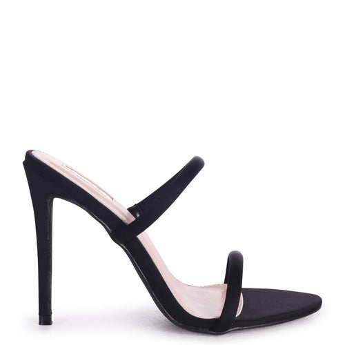 PENNY - Black Lycra Stiletto Heeled Mule With Double Front Strap