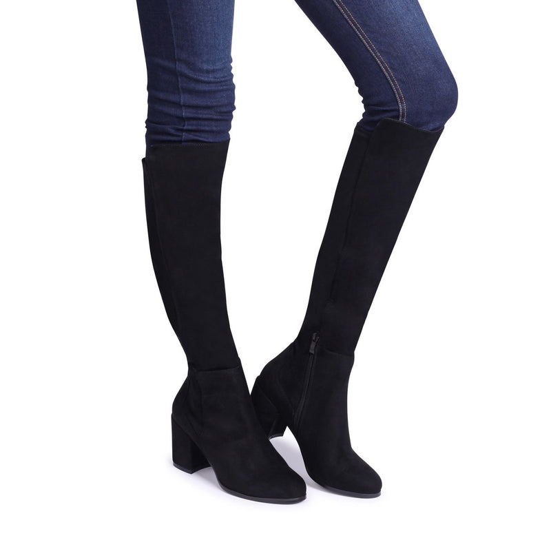 MANDY - Black Suede Block Heeled Knee High Boot