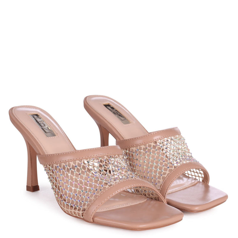 VALENCIA - Nude Fishnet & Diamante Square Toe Mule