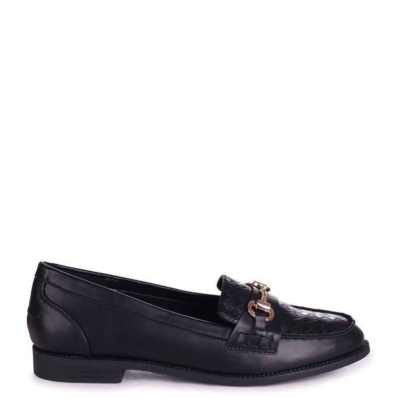 PARKER - Black Nappa Slip On Loafer With Gold Bar & Woven Front Detail