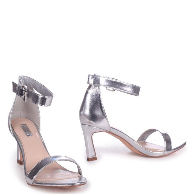 KIRA - Silver Metallic Small Heeled Barely There Sandal