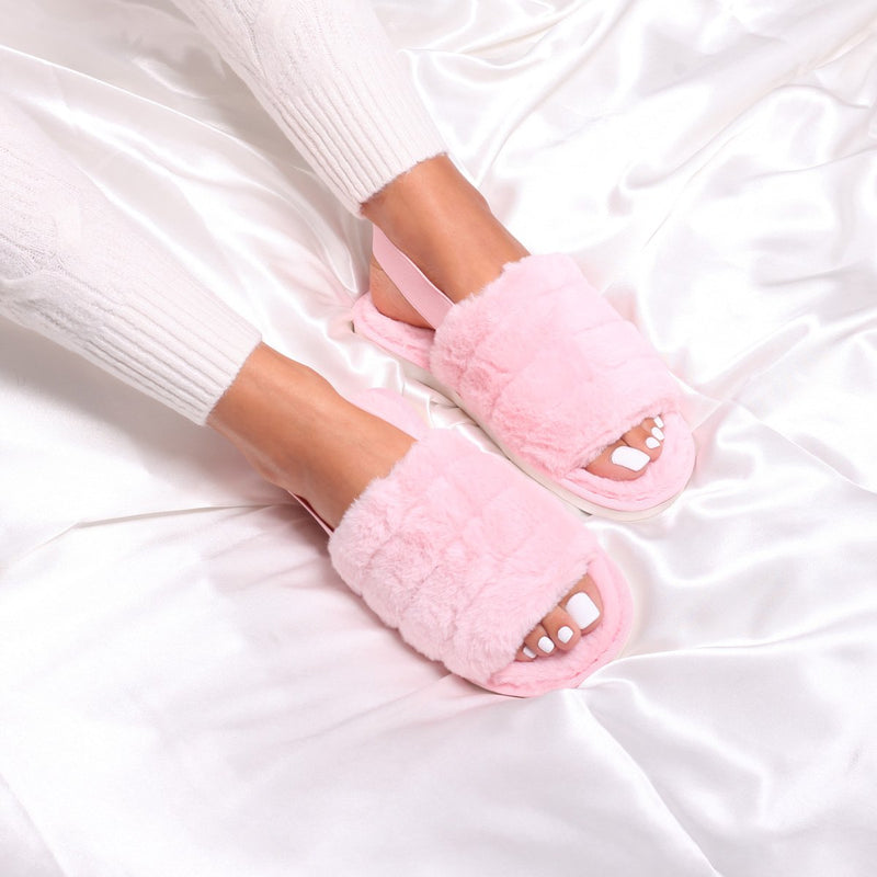 FLURRY - Pink Fluffy Slingback Slippers