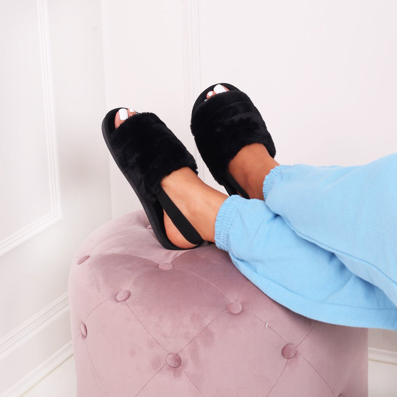 FLURRY - Black Fluffy Slingback Slippers