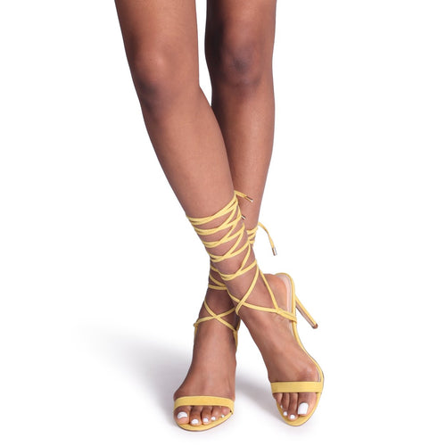 KIMMI - Yellow Suede Strappy Lace Up Stiletto Heel