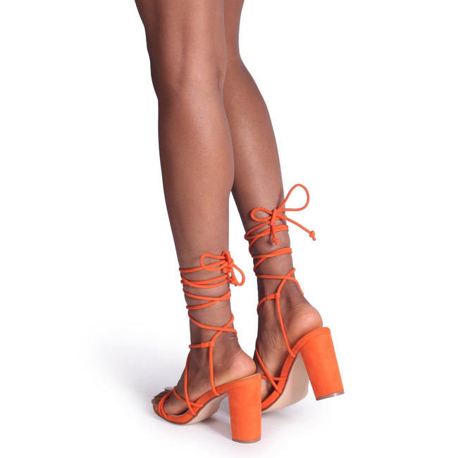 TWIST - Orange Suede Lace Up Strappy Block Heeled Sandal