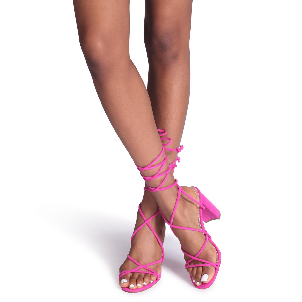 df746ecf650 TWIST - Hot Pink Suede Lace Up Strappy Block Heeled Sandal