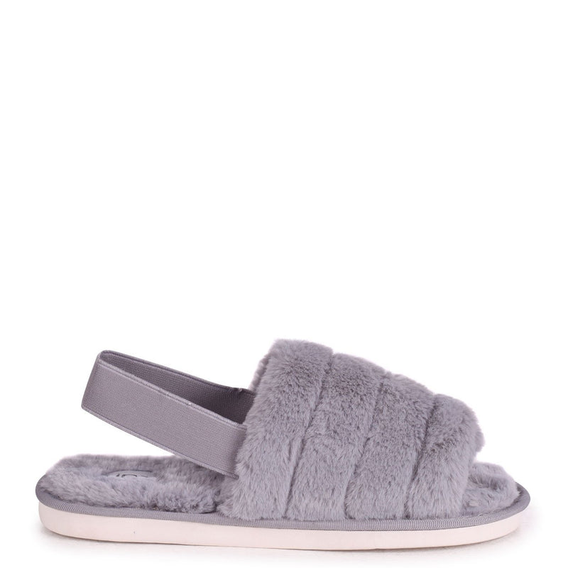 FLURRY - Grey Fluffy Slingback Slippers