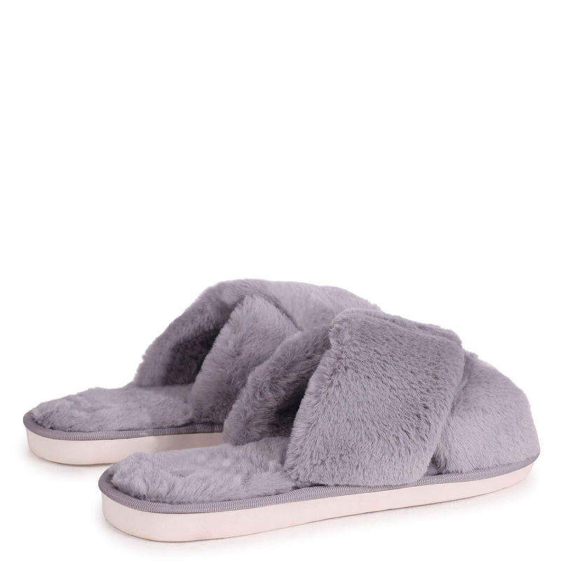 CLOUD - Grey Fluffy Crossover Slippers